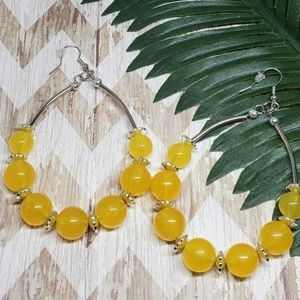 🏈 Fashion Bead Yellow Bead Earrings